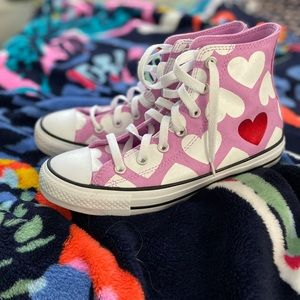 Pink Hearts Converse High Tops
